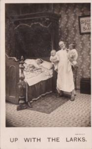 Bamforth Humour Man Holding Babies Up With The Larks 1908 Real Photo