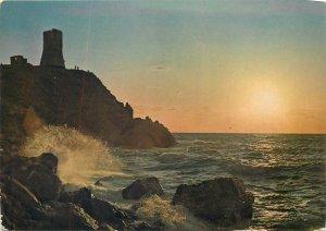 Postcard Italy Bagnara calabra the tuggero tower sunset sea waves ruins