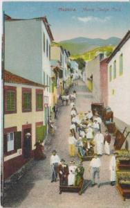 Birds Eye View of People in Monte Sledge Cars, Madeira, Portugal 1900-10s