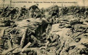 WW I - Seige of Antwerp, Belgium, 1914. Exit of Belgian Army   *RPPC