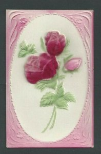 Ca 1911 Post Card Congratulations Flocked & Embossed