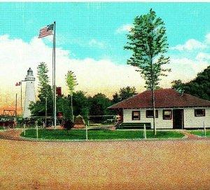 Porta Huron Michigan Mi Tourist Camp Luce Casa Park Unp Vintage Lino Cartolina