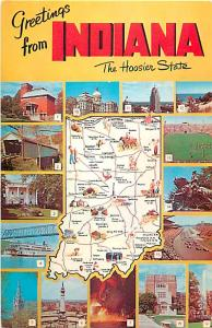 Greetings from Indiana The Hoosier State Map Postcard IN, Chrome