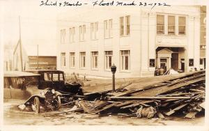 Burlington Kansas~Third & Neosho~Bank & Vintage Cars~Flood March 23 1922~RPPC