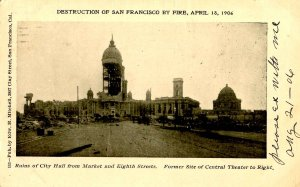 CA - San Francisco. 1906 Earthquake & Fire. City Hall from Market & 8th Streets