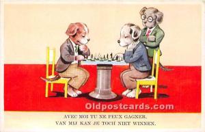 Old Vintage Chess / Checkers Postcard Post Card Avec Moi Tu Ne Peux Gagner Do...