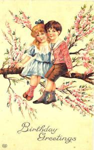 Boy Girl Sitting on Tree Limb Birthday Greetings  Embossed 1911 Postcard