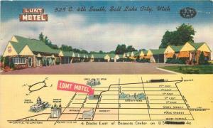 Colorpicture 1940s Lunt Motel Salt Lake City Utah Roadside linen postcard 2332