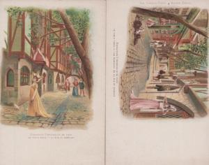 Exposition Universelle 1900 La Rue De Rempart 2x Antique French Postcard