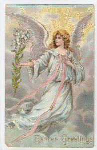 EASTER, PU-1909; Angel floating holding flowers, rays of light