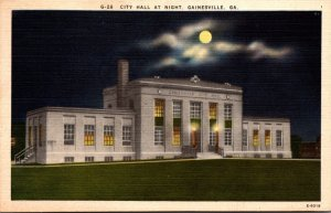 Georgia Gainesville City Hall At Night 1948