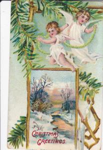 CHRISTMAS: Greetings, Cherubs flying with ropes, Pine tree branches, Winter S...