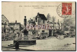 Postcard Old Army Chateau Thierry place of the town hall