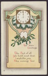New Year Greetings,Clock,Mistletoe