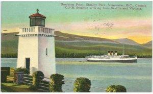 Brockton Point  Stanley Park Vancouver BC CPR Steamer Lighthouse postcard 1940s