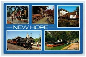 New Hope Multi View Postcard Bucks County Pennsylvania Train Boat