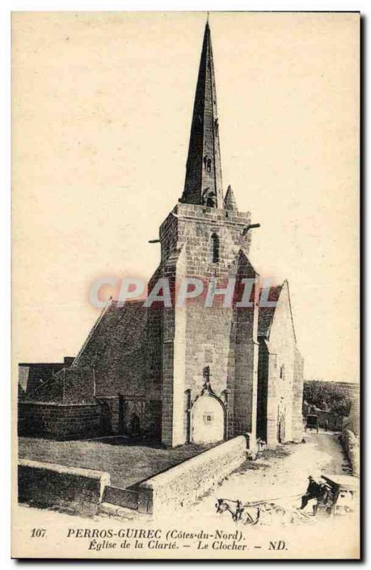 Old Postcard Perros Guirec Church of Clarity Caleche The Belfry