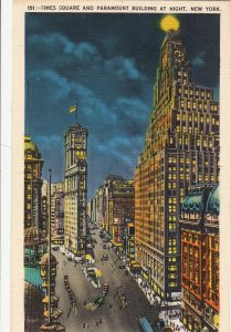 P1947 old postcard time square & parlament bldg night new york city unused