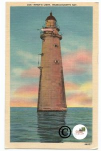 Vintage Linen Postcard Minots Light Massachusetts Bay. Lighthouse Atlantic ocean