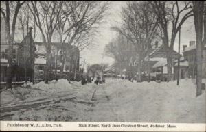 Andover MA Main St. North From Chestnut c1910 Postcard FRANK SWALLOW