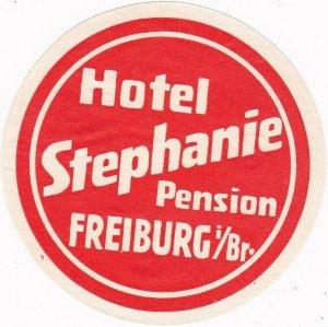 Germany Freiburg Hotel Stephanie Vintage Luggage Label sk3156