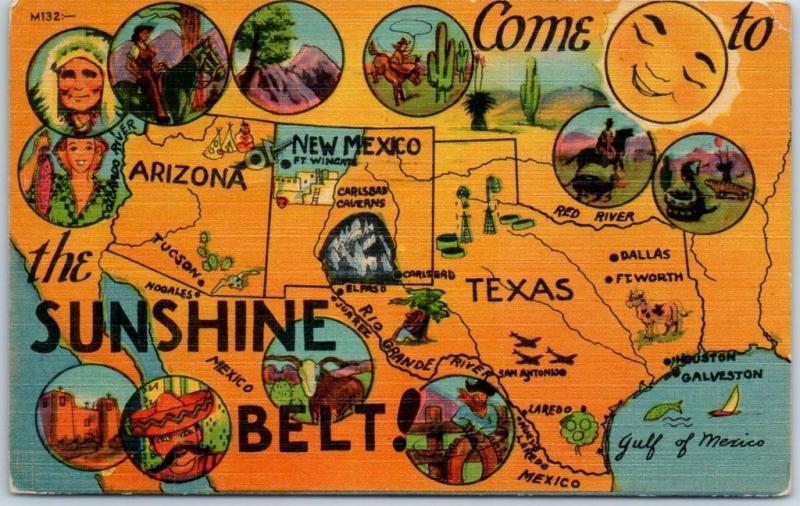 1949 Southwestern U S Map Postcard Come To The Sunshine Belt Texas Az Nm Linen