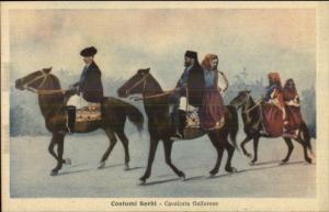 Sardinia Italy Sardi People Native Costumes Horses c1915 Postcard EXC COND