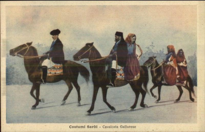 Sardinia Italy Sardi People Native Costumes Horses c1915 Postcard EXC COND