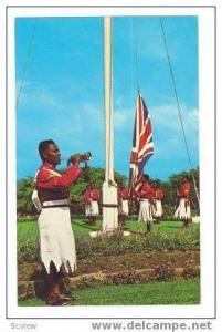 Government House guard raising flag, Fiji, 40-60s