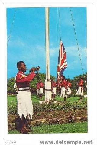 Government House guard raising flag, Fiji, 40-60s