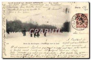 Old Postcard Bois de Boulogne Skating on the lake