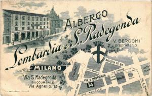 CPA AK MILANO Via S Radegonda 14. Albergo Lombardia S. Radegonda ITALY (a4967)