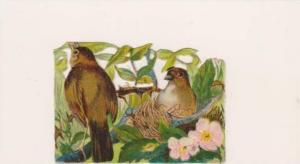 Victorian Scrap Paper: Brown Birds in Nest Among Leaves 1890s