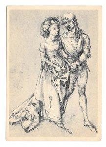 Albrecht Durer Lovers Liebespaar Pen Drawing Christophorus 4X6 Art Postcard