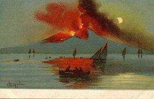 Italy - Mt Vesuvius Volcano Eruption.  Artist: Coppola
