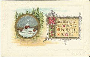 Vintage Postcard, Snow Covered Woodland Night Scene Remembrance and best wishes