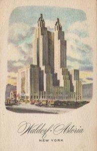 NY WALDORF-ASTORIA HOTEL~Vintage Postcard
