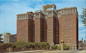 Chicago Illinois~Conrad Hilton Hotel & Essex Inn (from Bridge?)~1960s Postcard