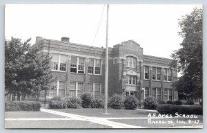 Riverside Chicago Illinois~AF Ames School~Front Door Open~1940s RPPC