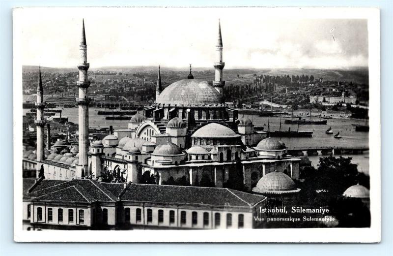 Postcard Turkey Istanbul Sulemaniye Mosque RPPC Real Photo K10