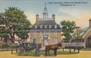 Royal Governors Palace And Colonial Coach Williamsburg Virginia 1942