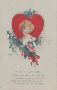 VALENTINE'S DAY, 1900-10s; Be My Valentine, Blonde Woman in Heart, Poem