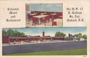 Colonial Motel And Restaurant Oxford North Carolina 1956