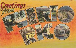 Greetings From Puerto Rico Large Letter Linen 1942