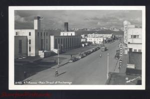 RPPC ANCHORAGE ALASKA DOWNTOWN MAIN STREET MOTORCYCLE REAL PHOTO POSTCARD