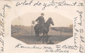 Lampson Wisconsin~Man on Horseback~Farm Behind~Going to St Paul Next~1910 RPPC