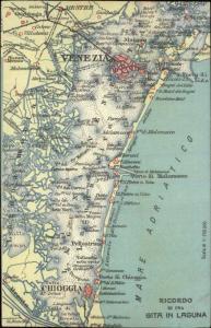 Venice Venezia Italy & Adriatic Sea MAP c1910 Postcard