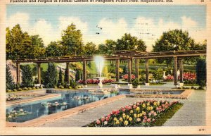 Maryland Hagerstown Pangborn Public Park Fountain and Pergola In Formal Garde...