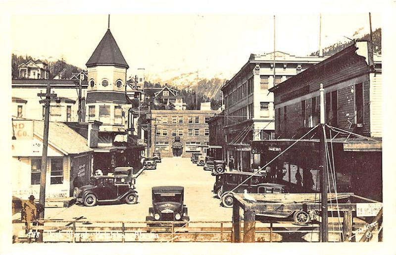 Ketchikan AK Dock Street Store Fronts Bank Old Cars RPPC Postcard