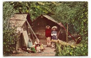 Banana Plantation Hut Family Veracruz Pacific Railway Mexico 1910c postcard
